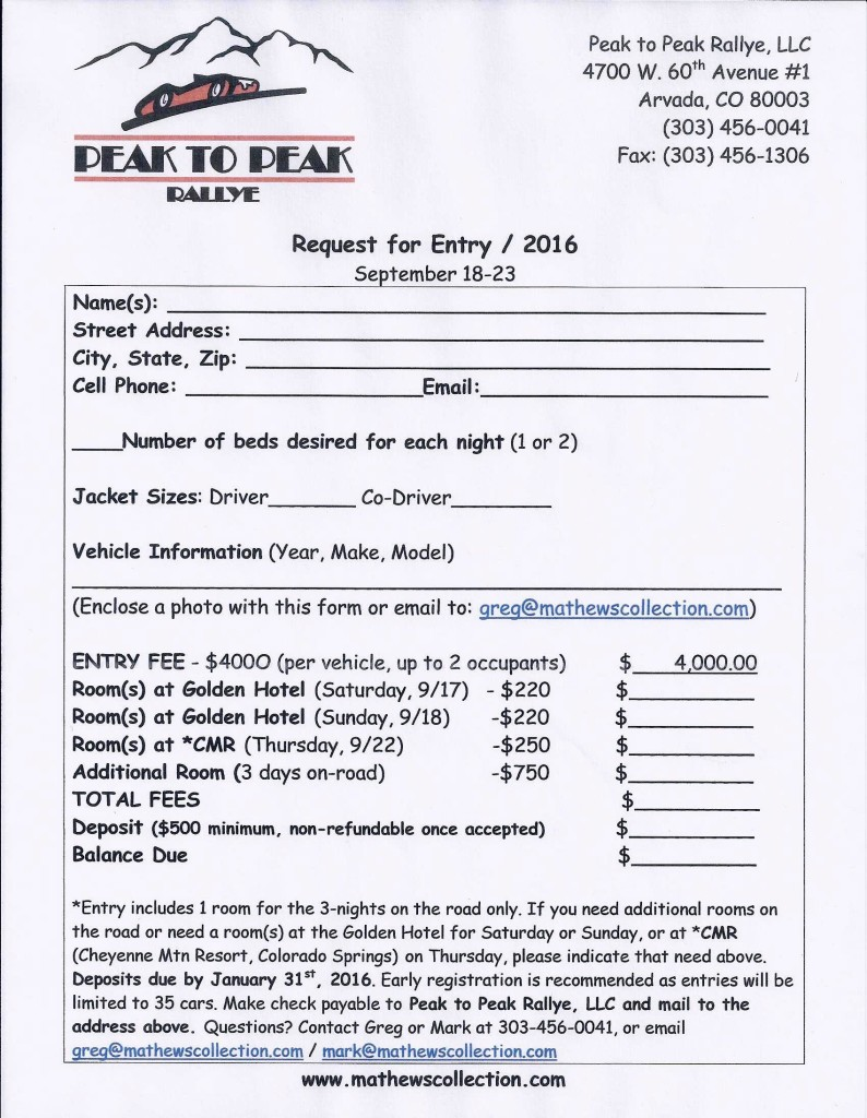 P2P 2016 Entry Form